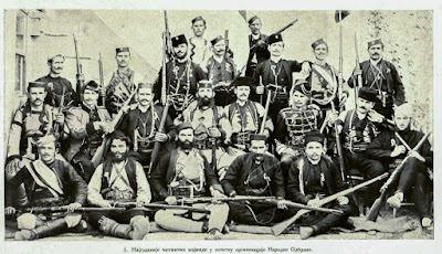 """The most important Komitadji-leaders, at the commencement of the """"Narodna Odbrana"""" organisation."""
