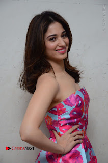 Actress Tamanna Latest Images in Floral Short Dress at Okkadochadu Movie Promotions  0096.JPG