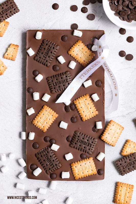 DIY Schokoladentafeln Schokolade selber machen Butterkeks Marshmallow