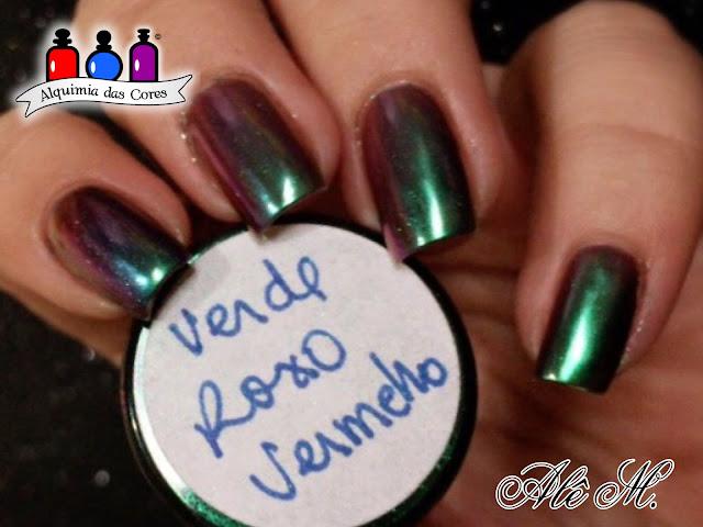 DRK Nails, Pigmento, Verde Roxo Vermelho, OPI Base Glitter Off, Elite99, Alê M.