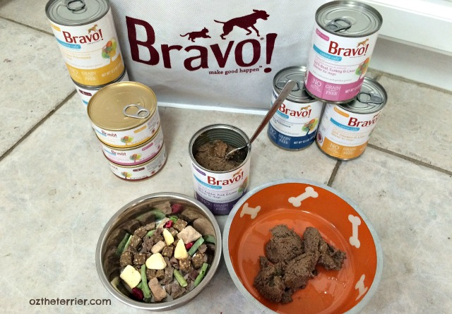 Bravo Pet Foods Canine Cafe canned next to Homestyle Complete freeze-dried raw diet for dogs