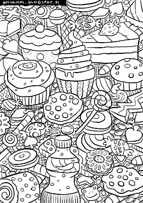 A coloring page of candies, cookies, muffins and all kinds of sweets / Värityskuva kaikenlaisista makeista herkuista