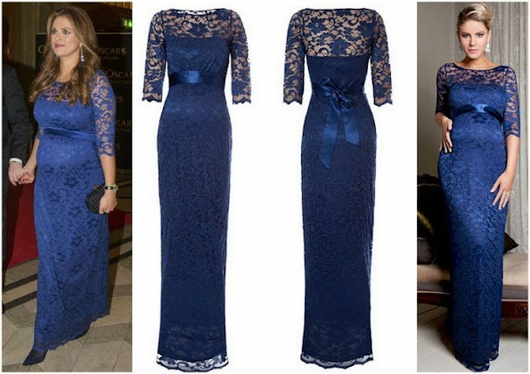 Princess Madeleine wears Tiffany Rose Amelia Lace Maternity Dress Long in Windsor Blue