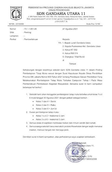 Surat Pemberitahuan Nomor 73 / 1.851.45 Tentang Pembelajaran Tatap Muka Terbatas