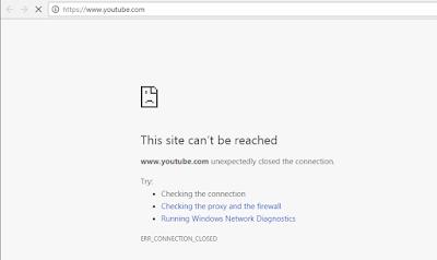 Tampilan situs yang telah diblokir oleh firewall mikrotik
