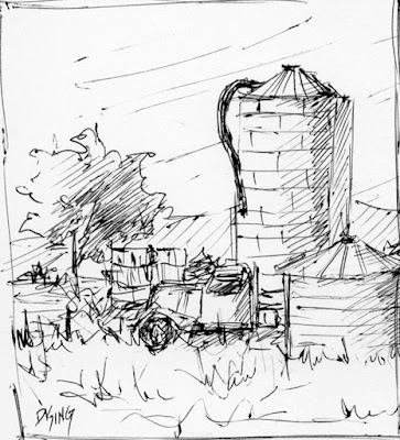 art sketch pen ink rural farm silo agriculture