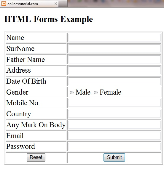 Online tutorial introduction html for Html form table