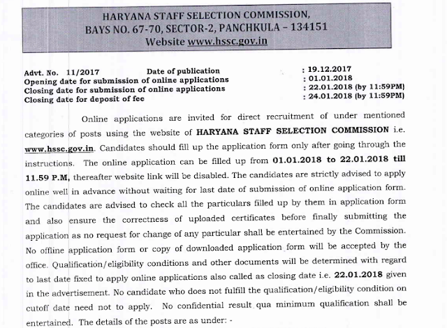 HSSC Recruitment Notification for Various Categories (Advt. No.: 11/2017)