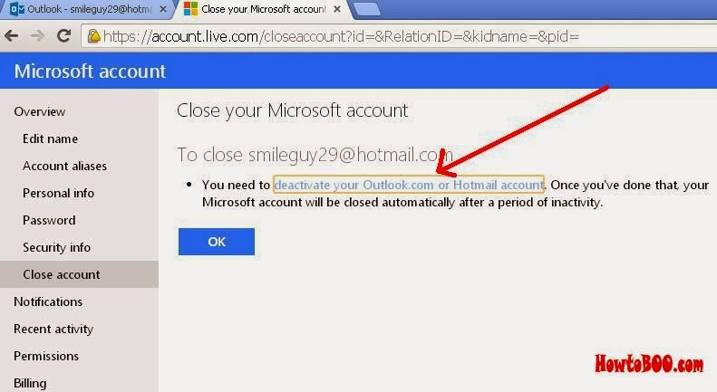 close my hotmail email account permanently