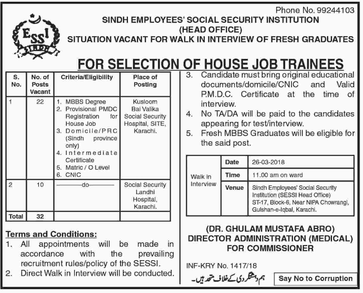 Sindh Employees Social Security Institution SESSI Latest Jobs 2018