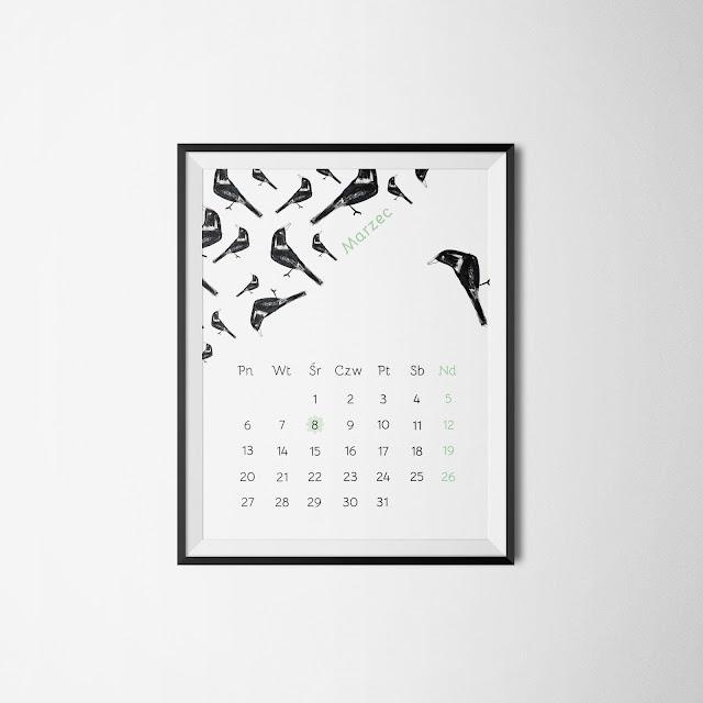 kalendarz druk marzec 2017 diy