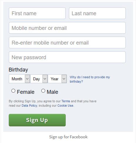 Www facebook com sign up or log in p