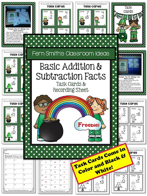 Fern Smith's Classroom Ideas FREE St. Patrick's Day Basic Addition and Subtraction Facts Task Cards