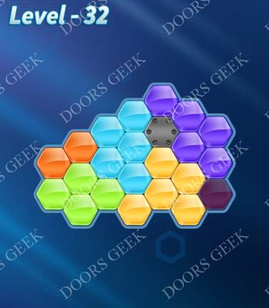 Block! Hexa Puzzle [Rainbow A] Level 32 Solution, Cheats, Walkthrough for android, iphone, ipad, ipod