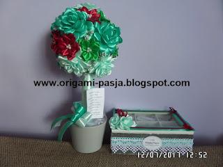na ślub, zamiast kwiatów, pudełko na szczęście, z życzeniami, drzewko, ze wstążki, kanzashi, na pamiątkę, róże, kokardka, na szczęście, na słodko, na rozmnożenie, na wieczór we dwoje, na zdrówko, na osłodę,