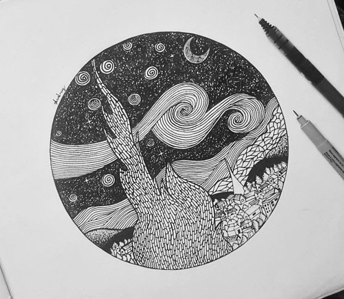 06-The-Starry-Night-by-Vincent-Van-Gogh-Poonam-Saha-Zentangle-Old-Masters-and-Works-of-Art-Drawings-www-designstack-co