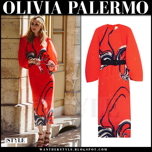 Olivia Palermo in red pleated print dress Solace London singer what she wore