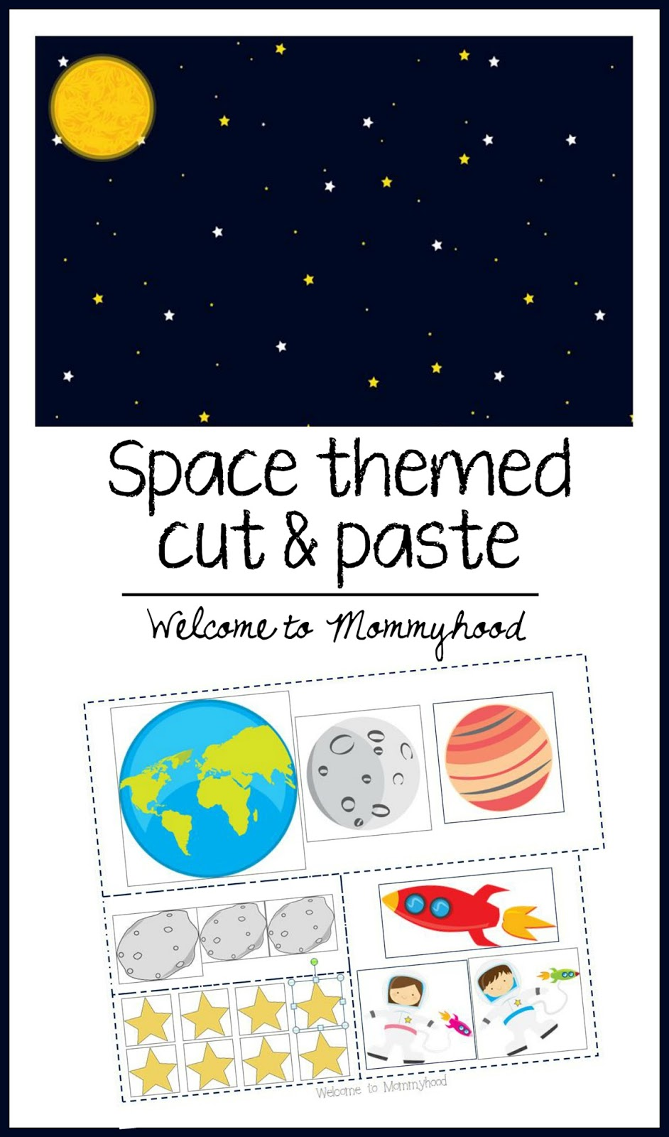 Space themed cut and paste - Welcome to Mommyhood