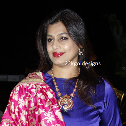 Pinky reddy in designer antique ruby Necklace