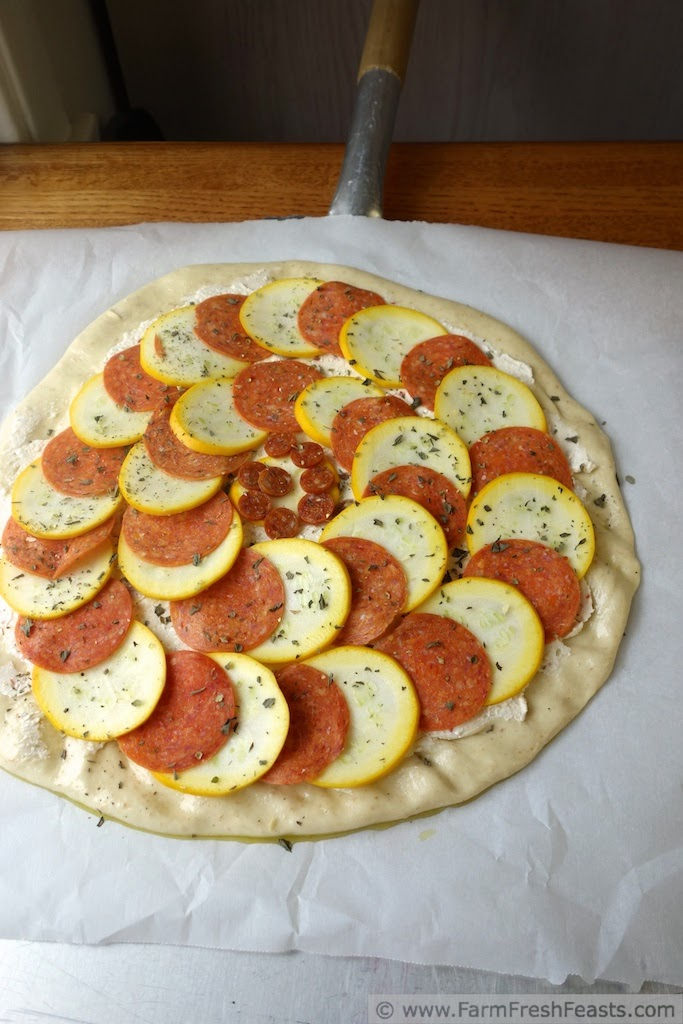 Pepperoni and Yellow Squash Pizza | Farm Fresh Feasts