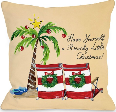 Christmas Sayings On Pillows For A Coastal Beach Themed