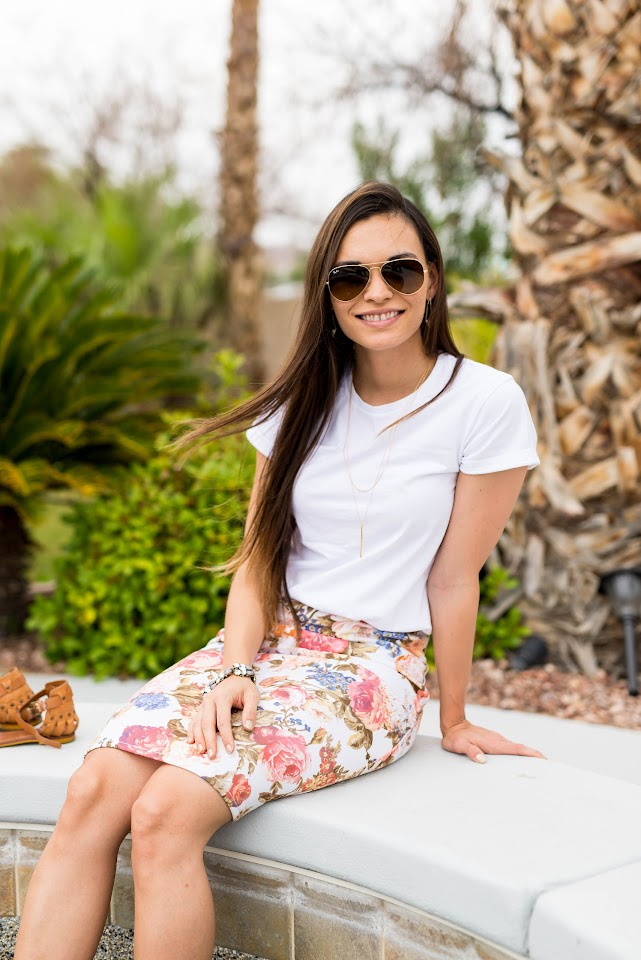 gorjana pressed taner layer necklace, las vegas pool, white t-shirt, floral pencil skirt, ray ban aviators, lds blogger, mormon, asian, korean, what to wear to the pool, summer outfit, hot weather outfits