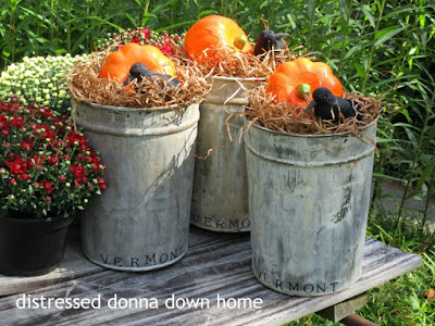 quick makeover, vintage sap buckets, fall decor