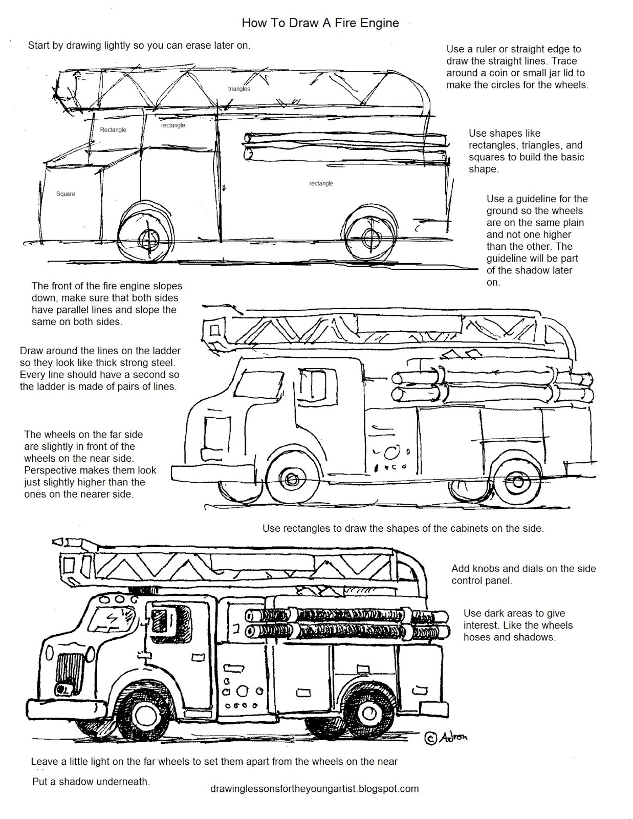 How To Draw Worksheets For The Young Artist How To Draw A Fire Engine Free Printable Worksheet
