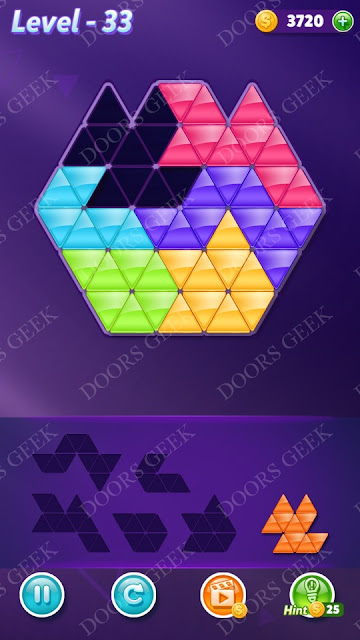 Block! Triangle Puzzle Intermediate Level 33 Solution, Cheats, Walkthrough for Android, iPhone, iPad and iPod