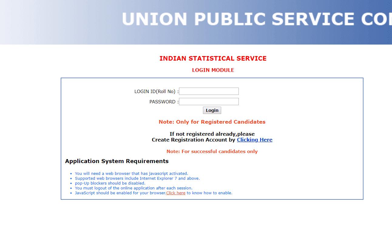 UPSC IES/ISS Exam 2019 DAF