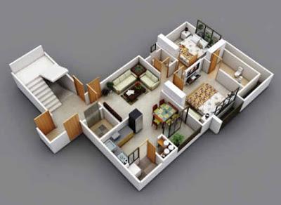 denah rumah minimalis dengan dua lantai
