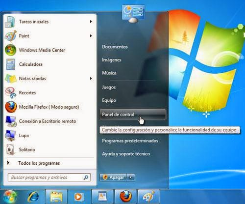 Ir al panel de control en Windows 7