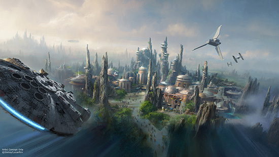 Millenium Falcon flying over a city concept art