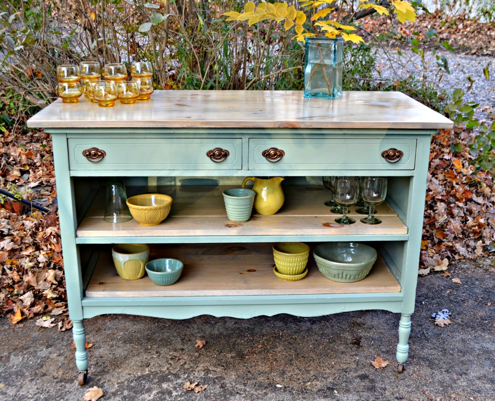 antique island for kitchen heir and space an antique dresser turned island in pale aqua 6048