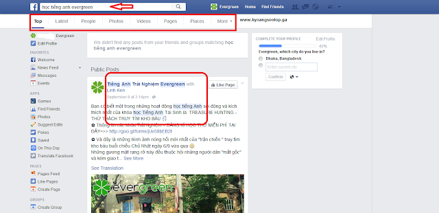 Hiển thị search trên facebook