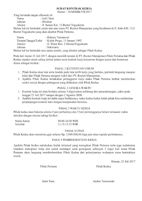 Contoh Format Surat Perjanjian