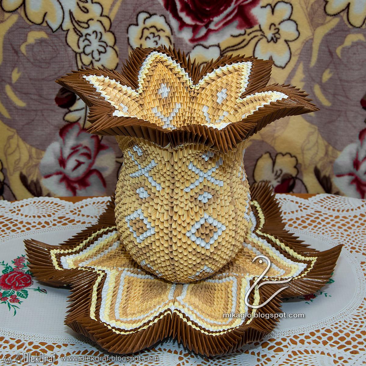 Vase 3d Origami Diagram: Mikaglo: 315. Waza Lotos Z Origami / 3d