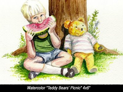boy eating watermelon, at teddy bear picnic, Adelaide, Artist: Jillian Crider