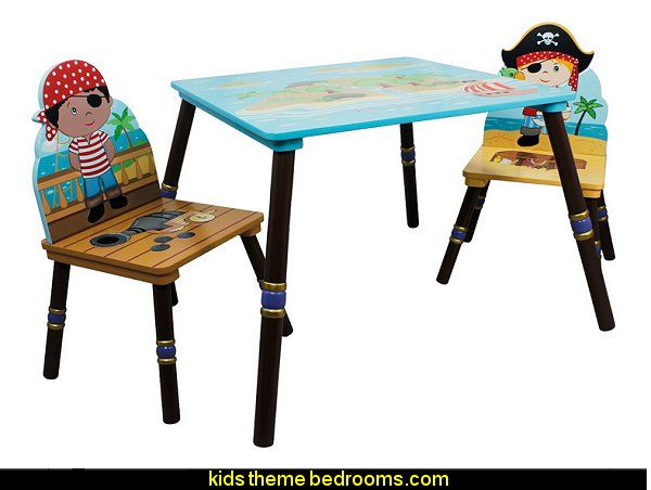 Pirates Island Table and Set of 2 Chairs  pirate bedrooms - pirate themed furniture - nautical theme decorating ideas - pirate theme bedroom decor - Peter Pan - Jake and the Never Land Pirates - pirate ship beds - boat beds - pirate bedroom decorating ideas - pirate costumes