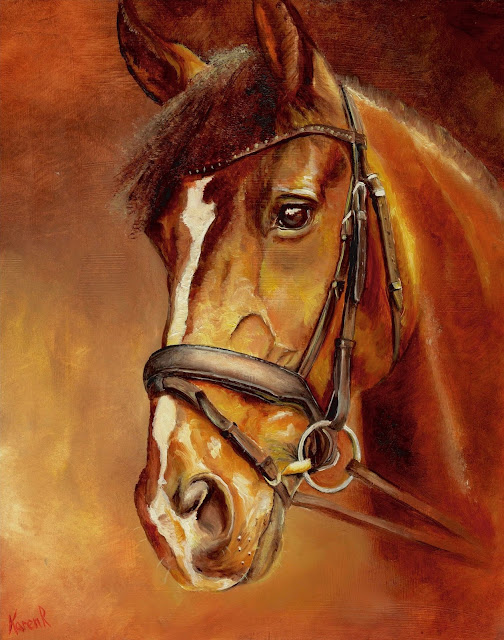 Portrait of a Horse in red and gold