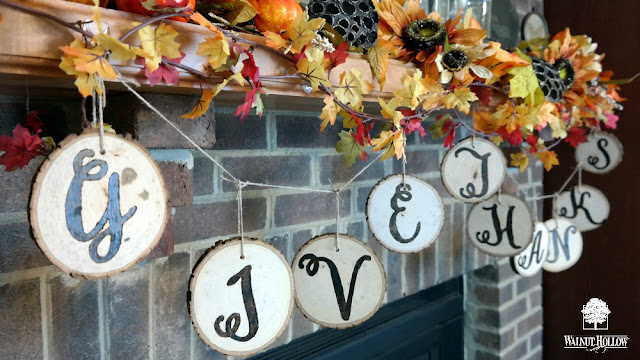 DIY Reversible Thanksgiving Wood Slice Garland Tutorial by Dana Tatar for Walnut Hollow