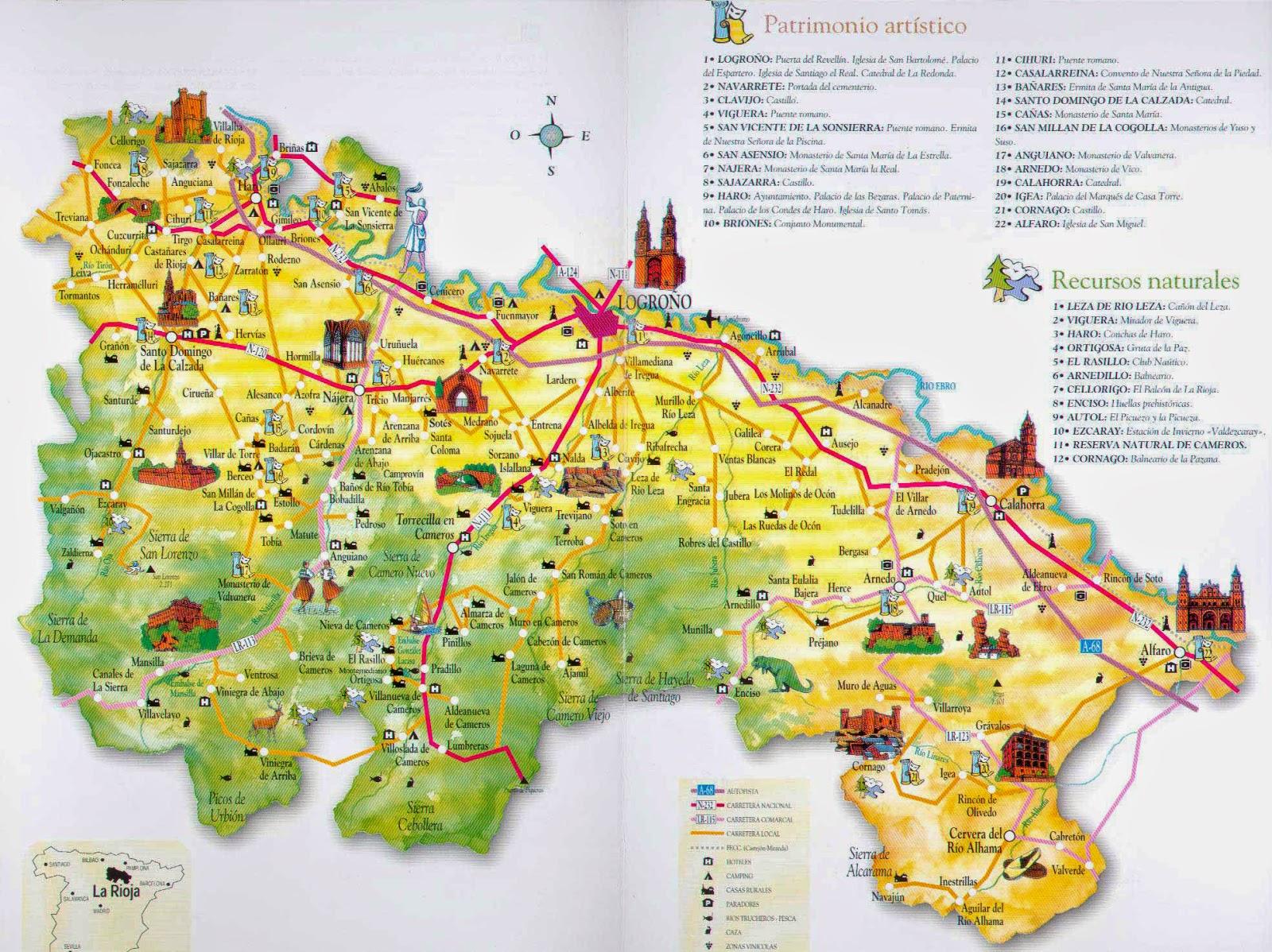 Mapa turístico de La Rioja.