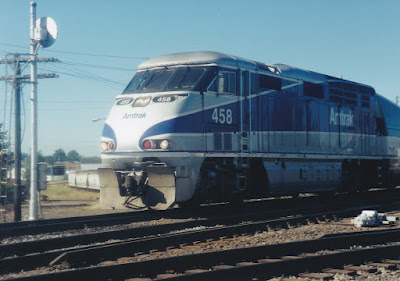 Amtrak F59PHI #458 in Vancouver, Washington, in July, 1999