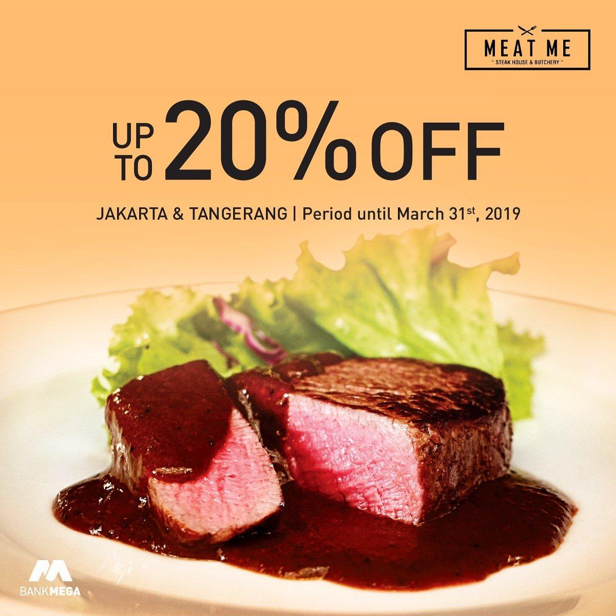 Bank Mega - Promo Diskon 20% di MeatMe Jakarta & Tangerang (s.d 31 Maret 2019)
