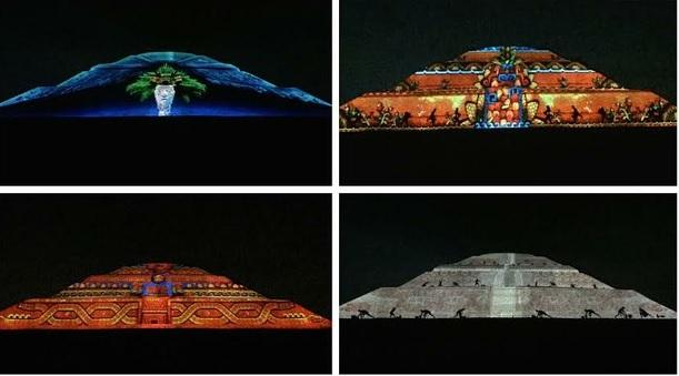 Cuatro pirámides con luces laser