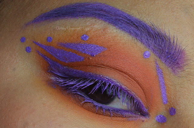 diamond fx, aquacolor, purple eyeliner, orange smokey, extra spice palette, makeup revolution, soph does nails