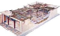 Bir megaronun iç ve dış yapısını gösteren çizim