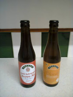 Photograph of two bottles of Green's Gluten Free Beer