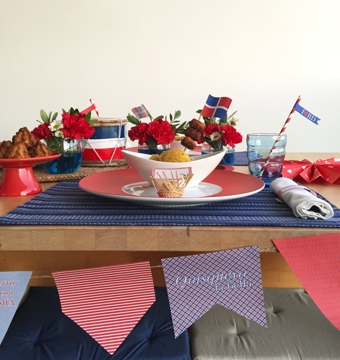 February 27, Dominican Republic independence party, lunch, table setting, red, white, blue, flag, palms, Quisqueya