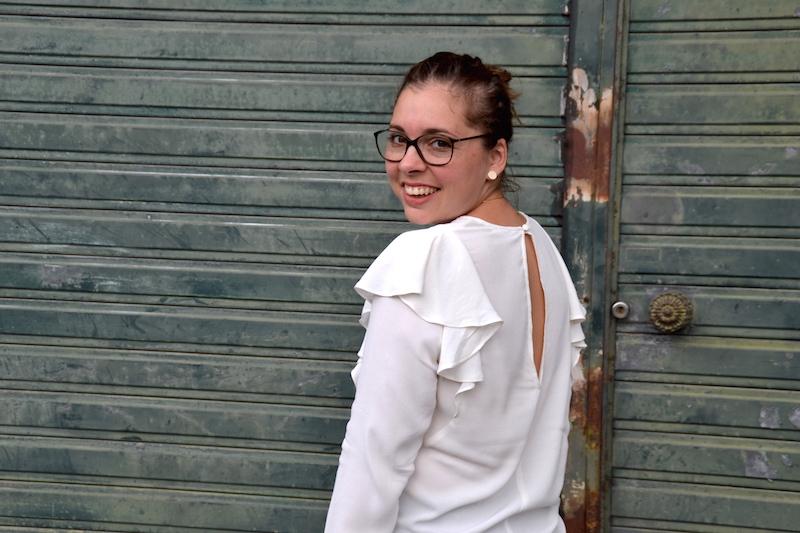 blouse blanche à volants H&M